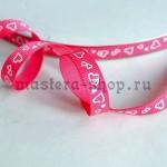 Репсовая лента Ярко-розовая - сердечный микс