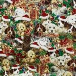 Ткань для печворка и рукоделия: Новогодние собаки