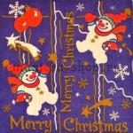 Салфетка Снеговики на фиолетовом