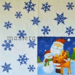 Салфетка Санта, снеговик, олень с фоном