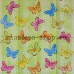 Салфетка Бабочки на зеленом фоне