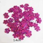 Пайетки цветок 14 мм голографик пятилепестковый Малиновый - 80шт