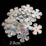 Пайетки цветок 20 мм голографик пятилепестковый Серебро - 1шт