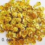 Пайетки круглые 6 мм голографик Золото - 10 гр.