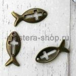 Винтажная подвеска Рыбка с крестиком