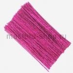 Блестящая проволока шенил (синель) Розовая темная