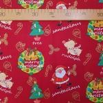Ткань из коллекции Подарки Санты: Санта и Рудольф. Красная